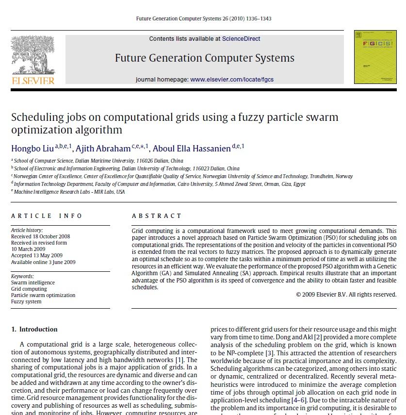 زمانبندی کاره در محیط گرید محاسباتی با استفاده از الگوریتم ازدحام ذرات فازی