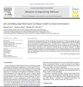 الگوریتم زمانبندی کار بر اساس مدل برگر در محیط ابری