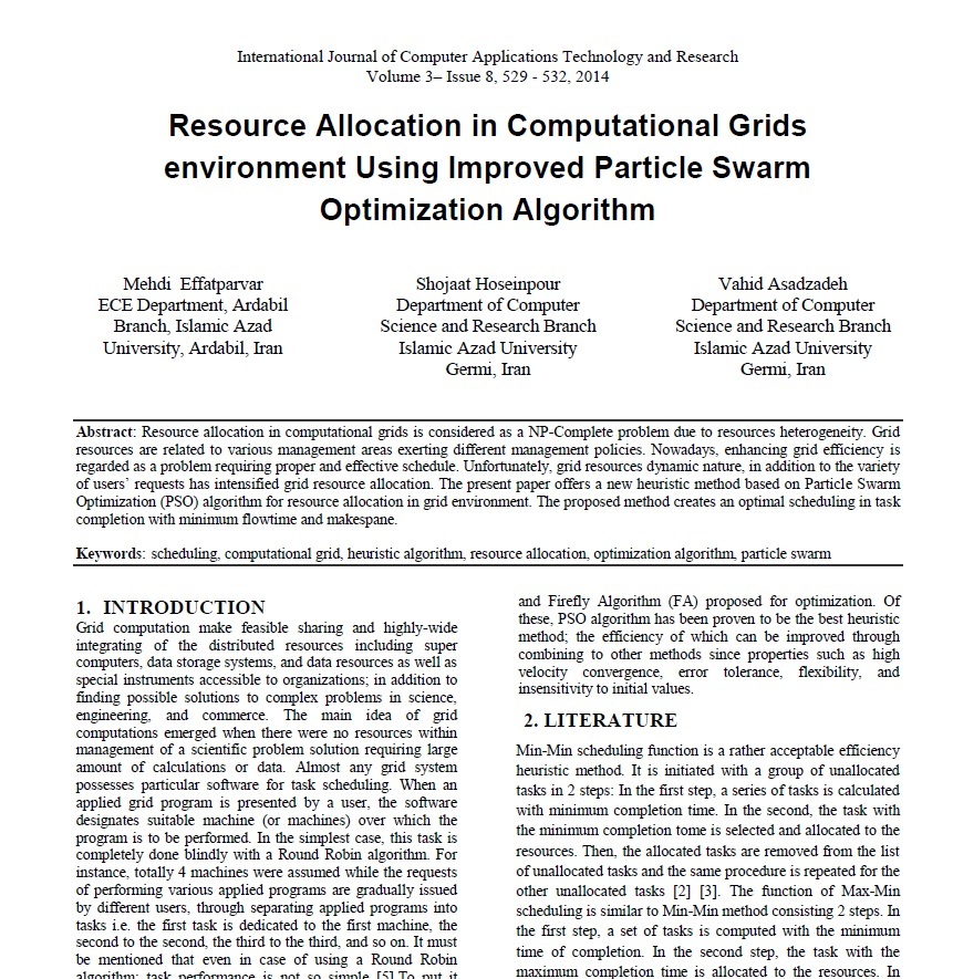تخصیص منابع در محیط گریدهای محاسباتی با استفاده از الگوریتم های هوش جمعی