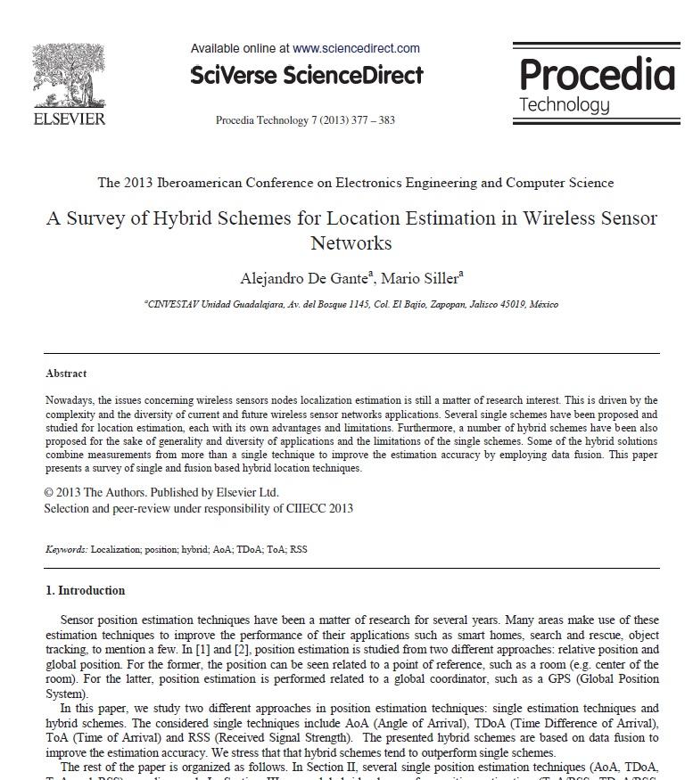 مقاله بررسی طرح های ترکیبی برای تخمین محل در شبکه های حسگر بیسیم